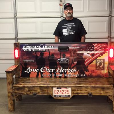 Ashland man builds bench to support veterans, Bellville nonprofit
