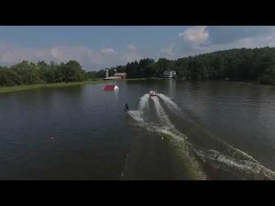 Closer view of Jim Hooker water ski practice