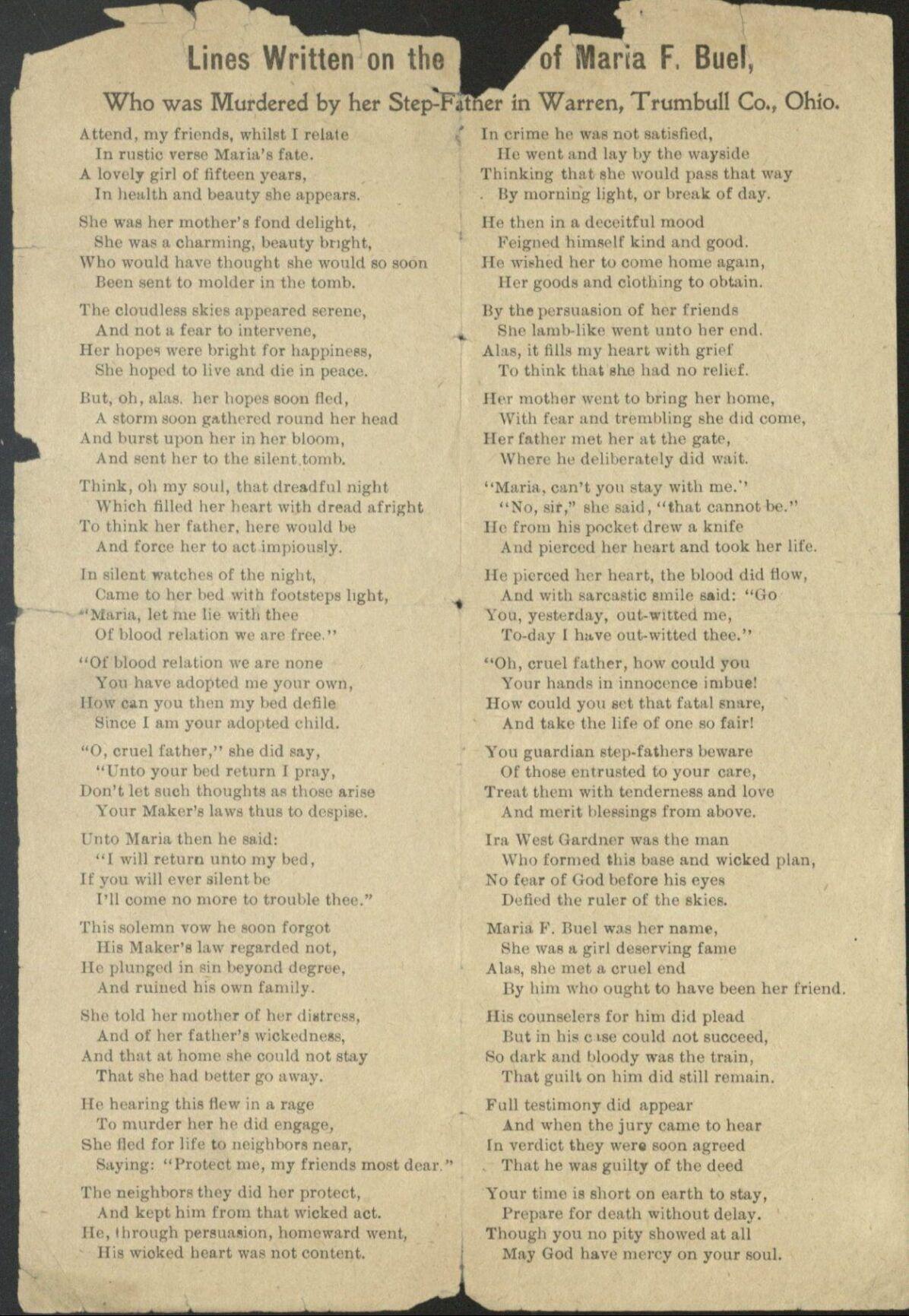 Murder poem