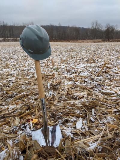 Shovel in a cornfield