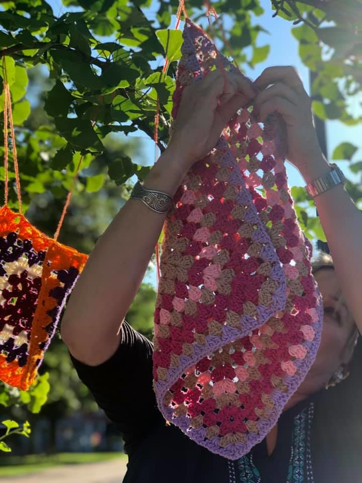 Yarn Bombing art installation colors downtown Mansfield