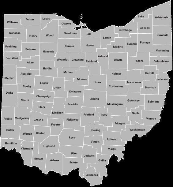 Map of Ohio counties