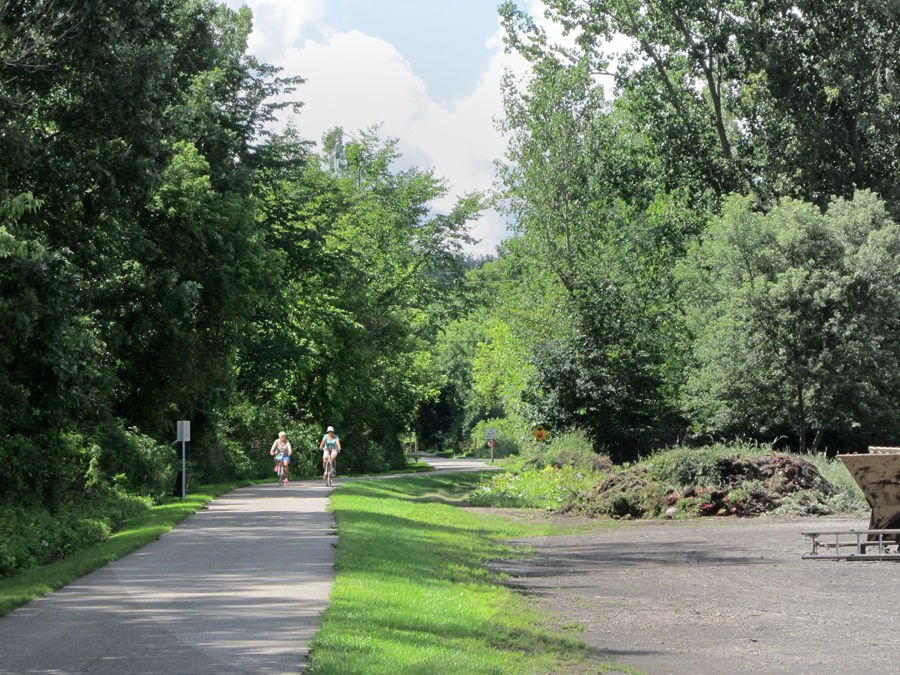 Bike trail deviates to an Alta sidetrack