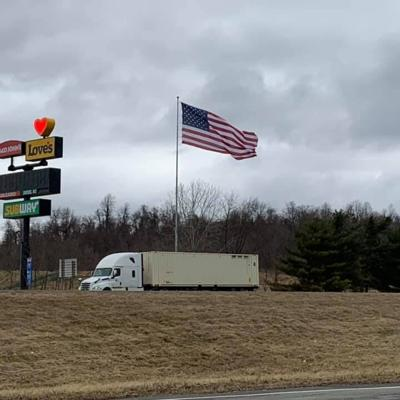 """Local veterans replace """"Monster Flag"""" at Love's Truck Stop"""