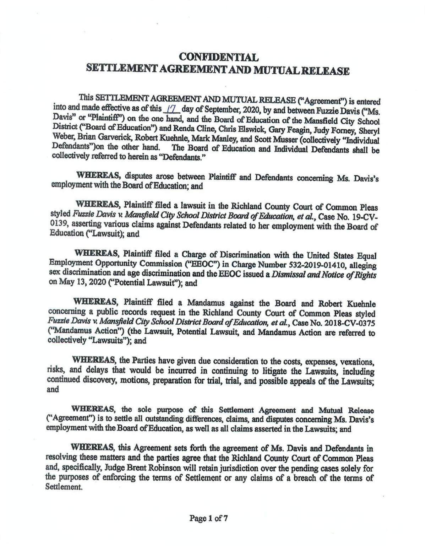 Settlement Agreement between MCS and Fuzzie Davis