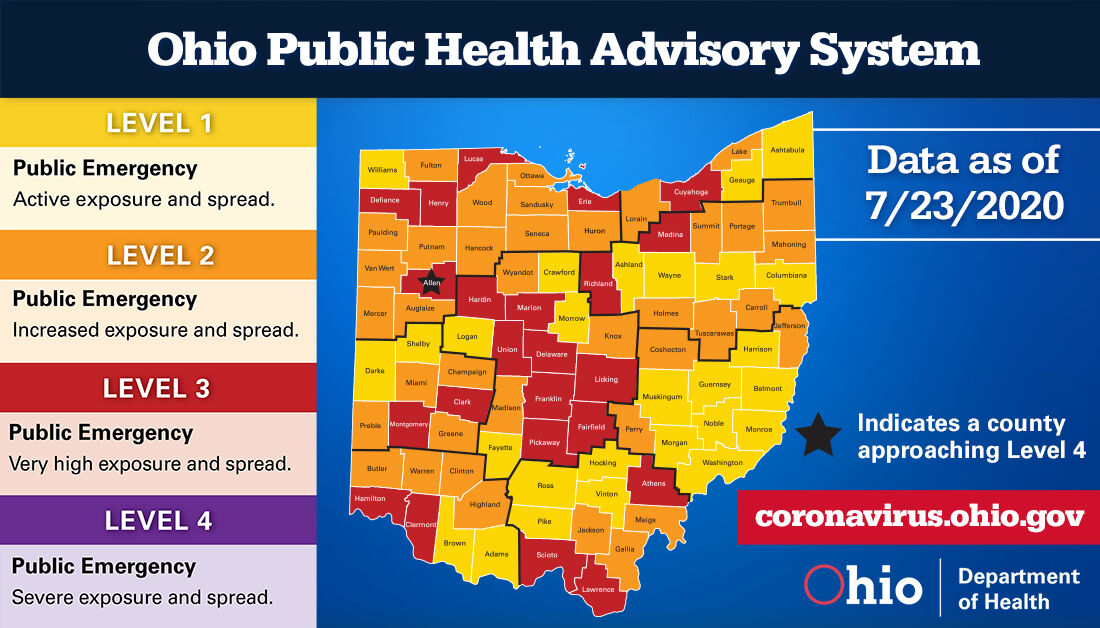 Public Health Advisory System updated map