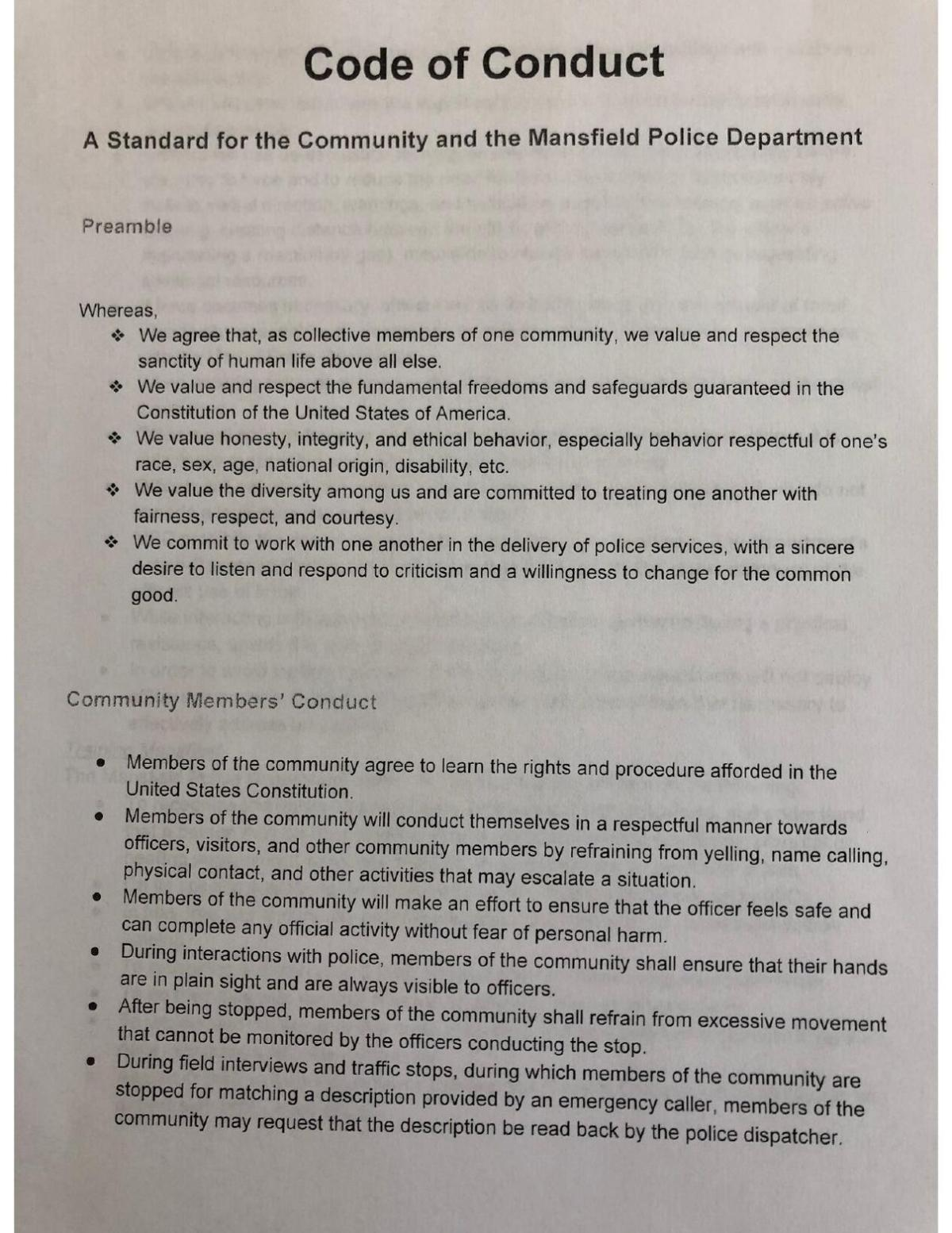 Code of Conduct Page 1