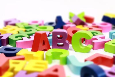 alphabet blocks spelling elementary school stock image