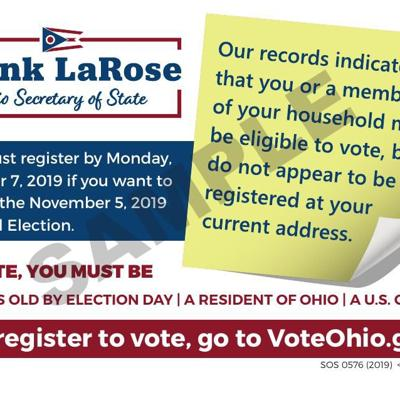 Almost 170,000 eligible, but unregistered, Ohio voters to receive outreach cards