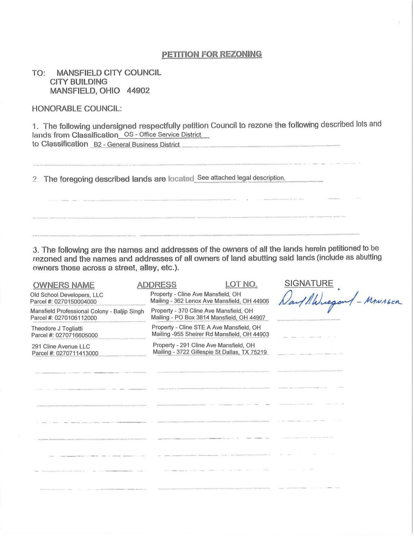 Cline Avenue rezoning petition
