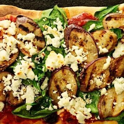 Change up your pizza recipe to a healthier version: Grilled Eggplant Pizza