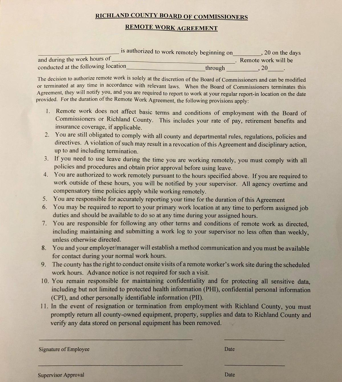 Richland county remote work agreement