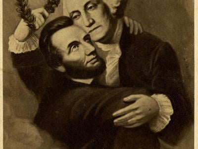 Apotheosis depicts 1865 illustration of Washington welcoming Lincoln to heaven