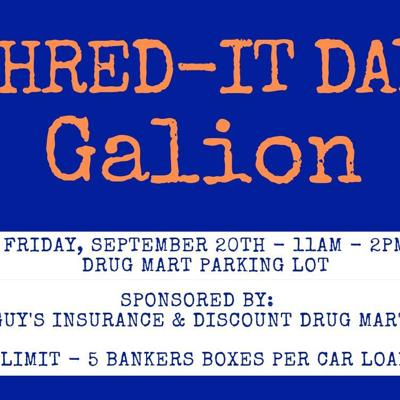 Shred It Day scheduled for Sept. 20 in Galion