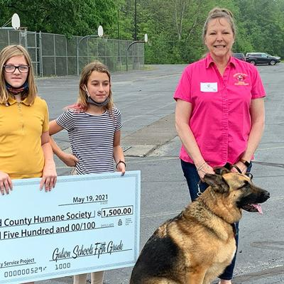 Galion 5th grade students present $1,500 check to Humane Society