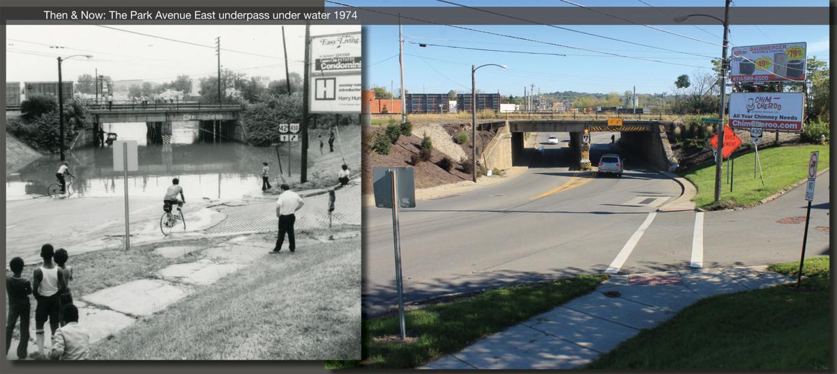 Then & Now: Park Avenue East underpass under water 1974