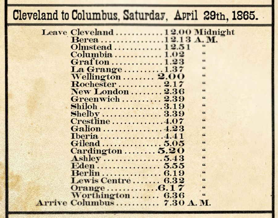 Schedule of Lincoln's funeral train in Richland County