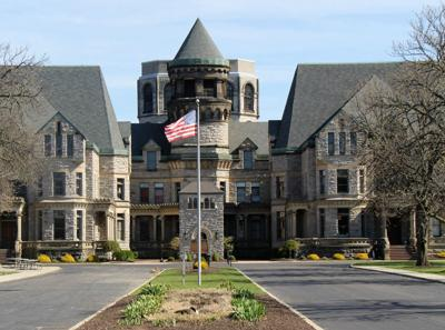 Ohio State Reformatory with a flag in front