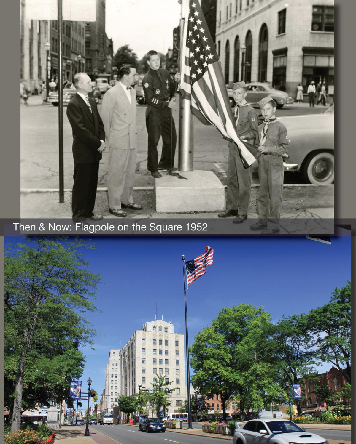 Then & Now: The flagpole on the Square 1952