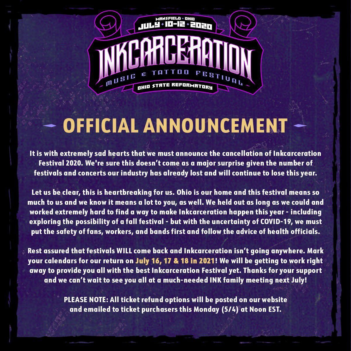2020 cancellation inkfest