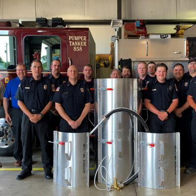 Grain bin rescue tube donated to Jefferson Twp. FD in Crawford County