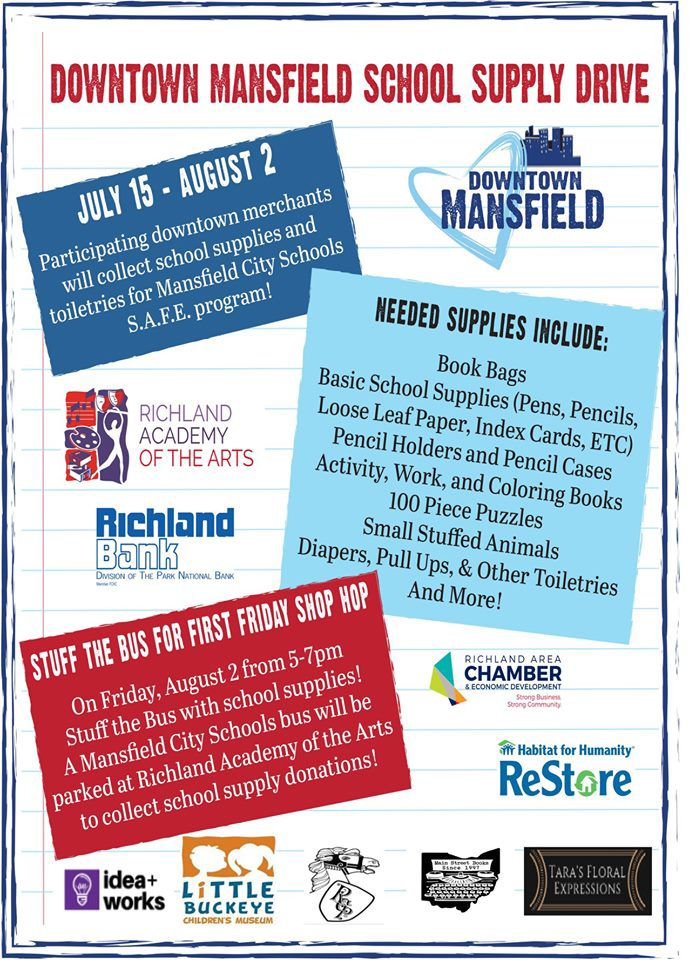 Area residents urged to give back through the Downtown Mansfield school supply drive