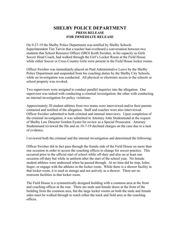 Swisher Press Release