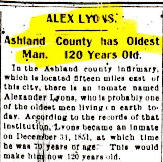 Ashland County man was believed to be oldest in nation
