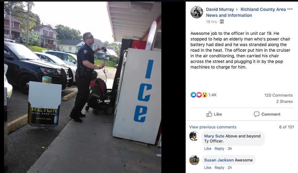 Mansfield Police Officer receives community kudos for aiding disabled man