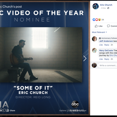Eric Church's OSR piece nominated for CMA's Music Video of the Year Award