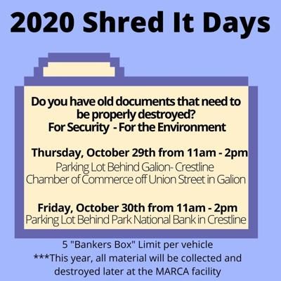 Shred It Days slated for Galion & Crestline Oct. 29, 30