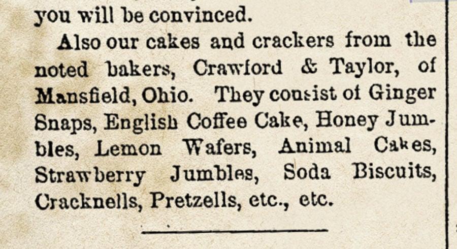 Crawford & Taylor menu of snacks