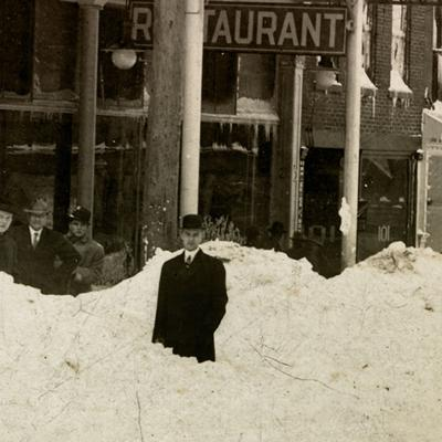 Then & Now: 105 N. Main Street in the snow 1913