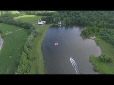 Drone video of Jim Hooker water ski jumper