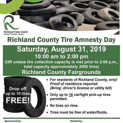 Free tire amnesty day set for Aug. 31 in Richland County