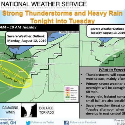 Severe weather expected early Tuesday morning in north central Ohio