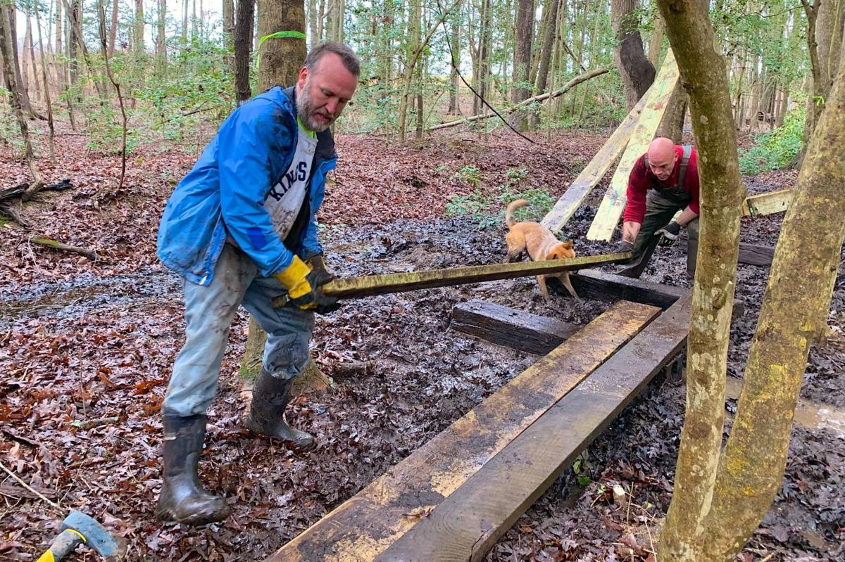 Work on the Dahlgren Railroad Heritage Trail