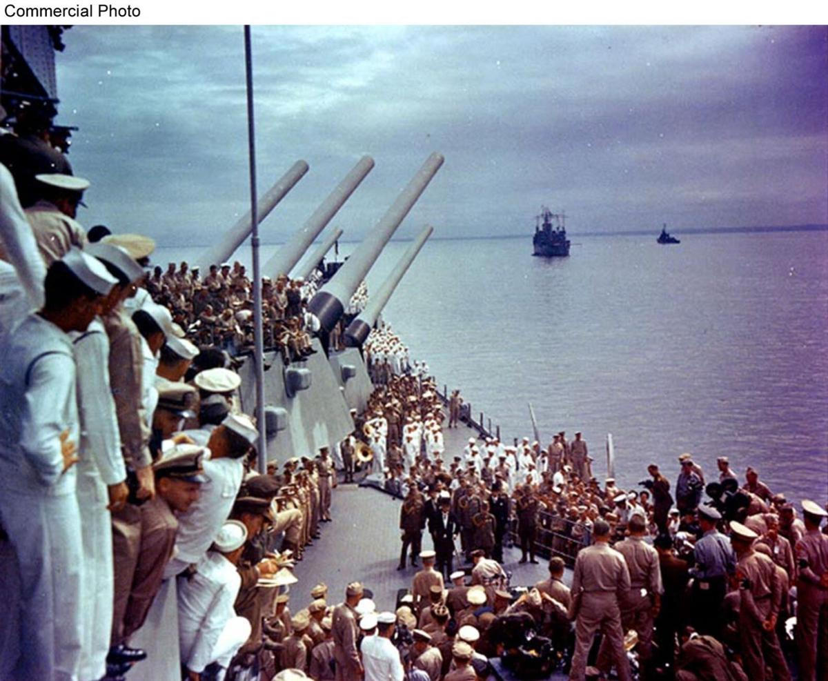 VIEW OF SURRENDER CEREMONIES FROM USS MISSOURI