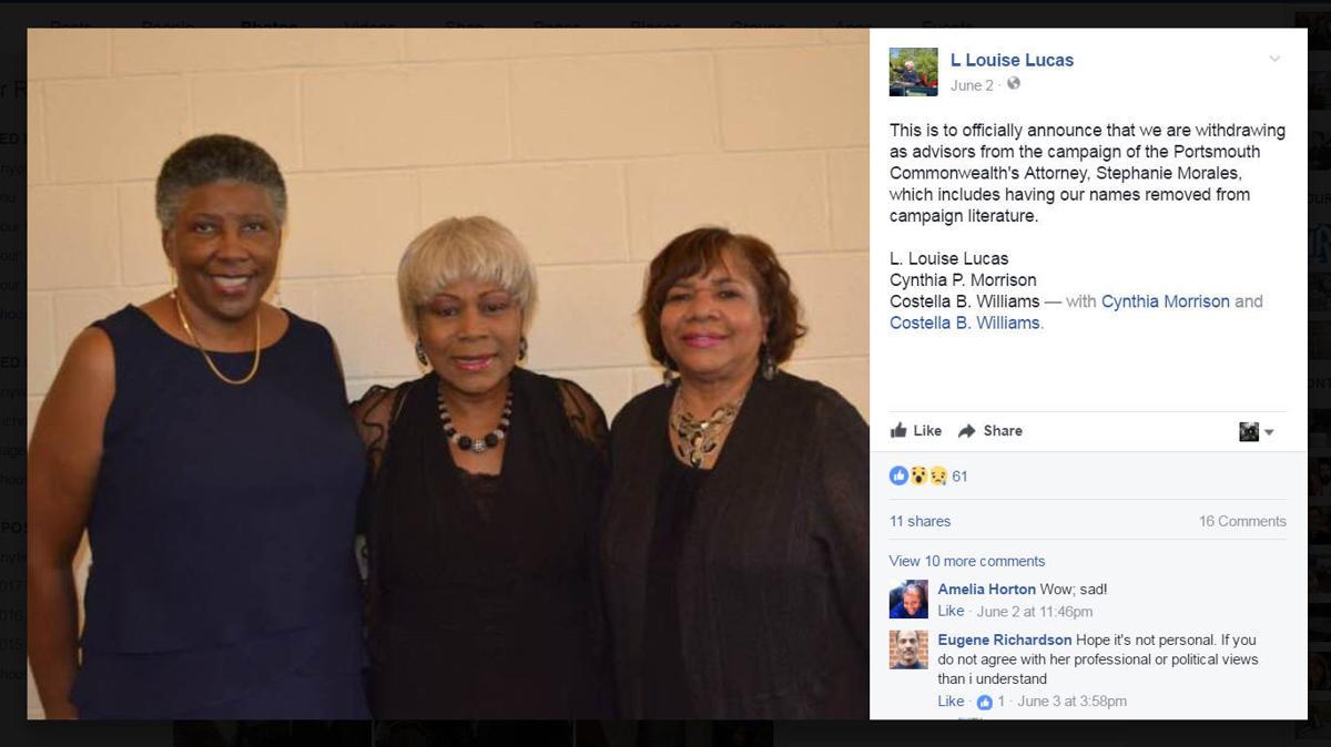 Sen. L. Louise Lucas, Costella Williams and Cynthia Morrison