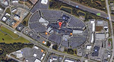 Shots reportedly fired in Short Pump Town Center parking lot ... on pheasant lane mall map, westfield brandon mall map, south hill mall map, carolina place mall map, montgomery mall map, jefferson mall map, chicago ridge mall map, fashion fair mall map, west town mall map, cool springs mall map, edison mall map, fashion square mall map, broward mall map, north east mall map, providence place mall map, washington mall map, parks mall map, north point mall map, maine mall map, southridge mall map,