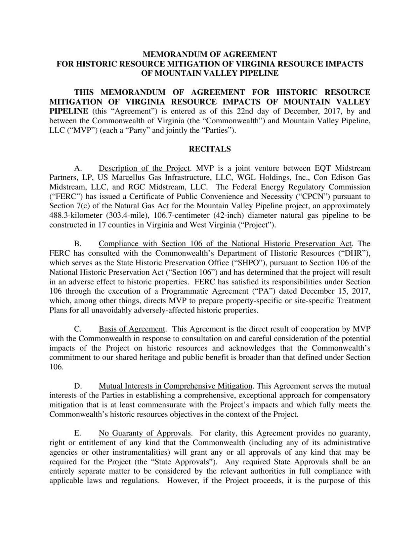 Virginia Mvp Historic Resources Agreementpdf Richmond