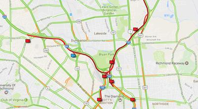 Richmond Traffic Map.Traffic Alert Crash On I 95 South Causing Delays Near Boulevard