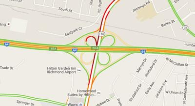Richmond Traffic Map.Traffic Alert Ramps Off I 64 Reopen To Airport Drive Traffic