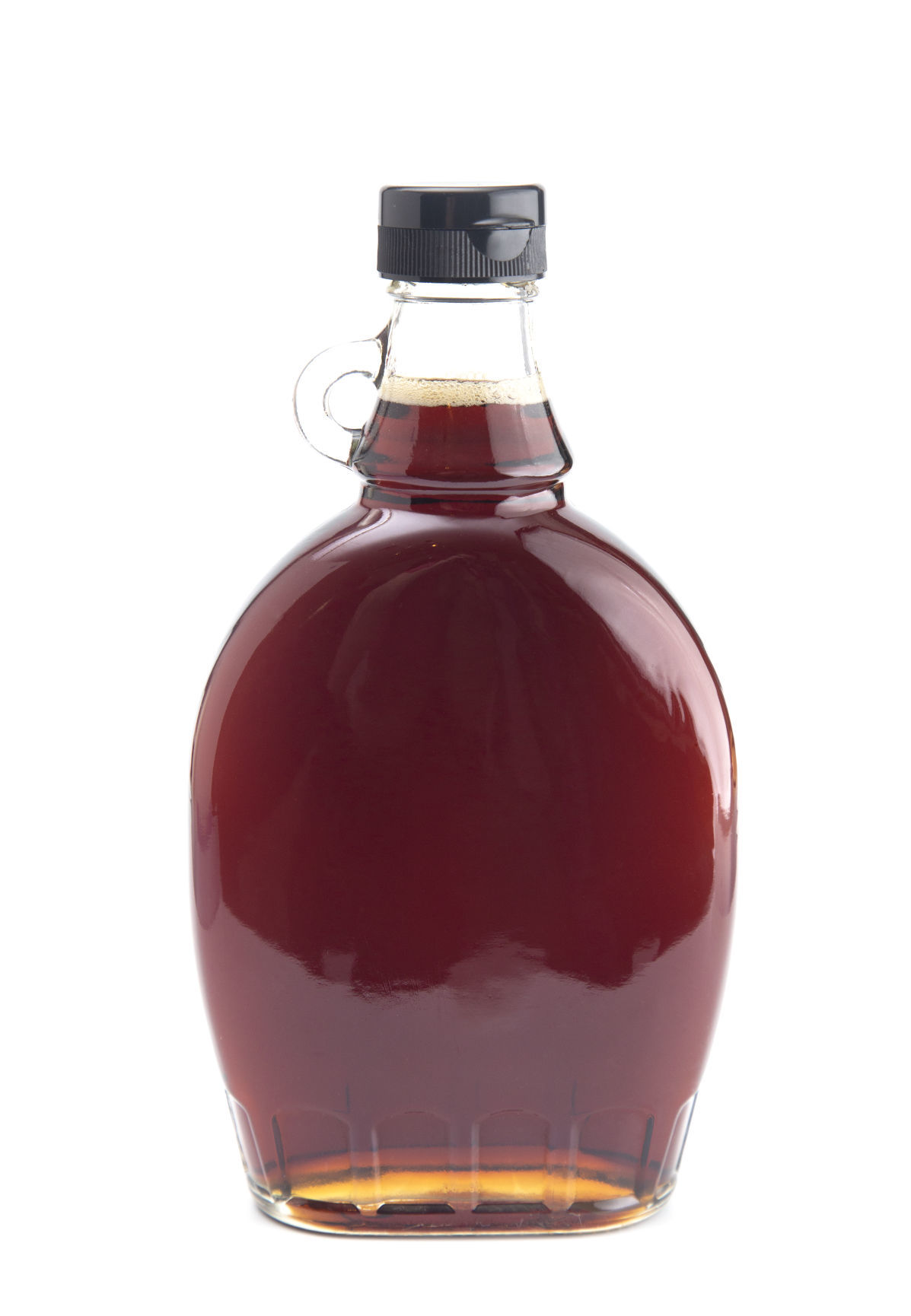 Bottle of Pure Maple Syrup on a White Background