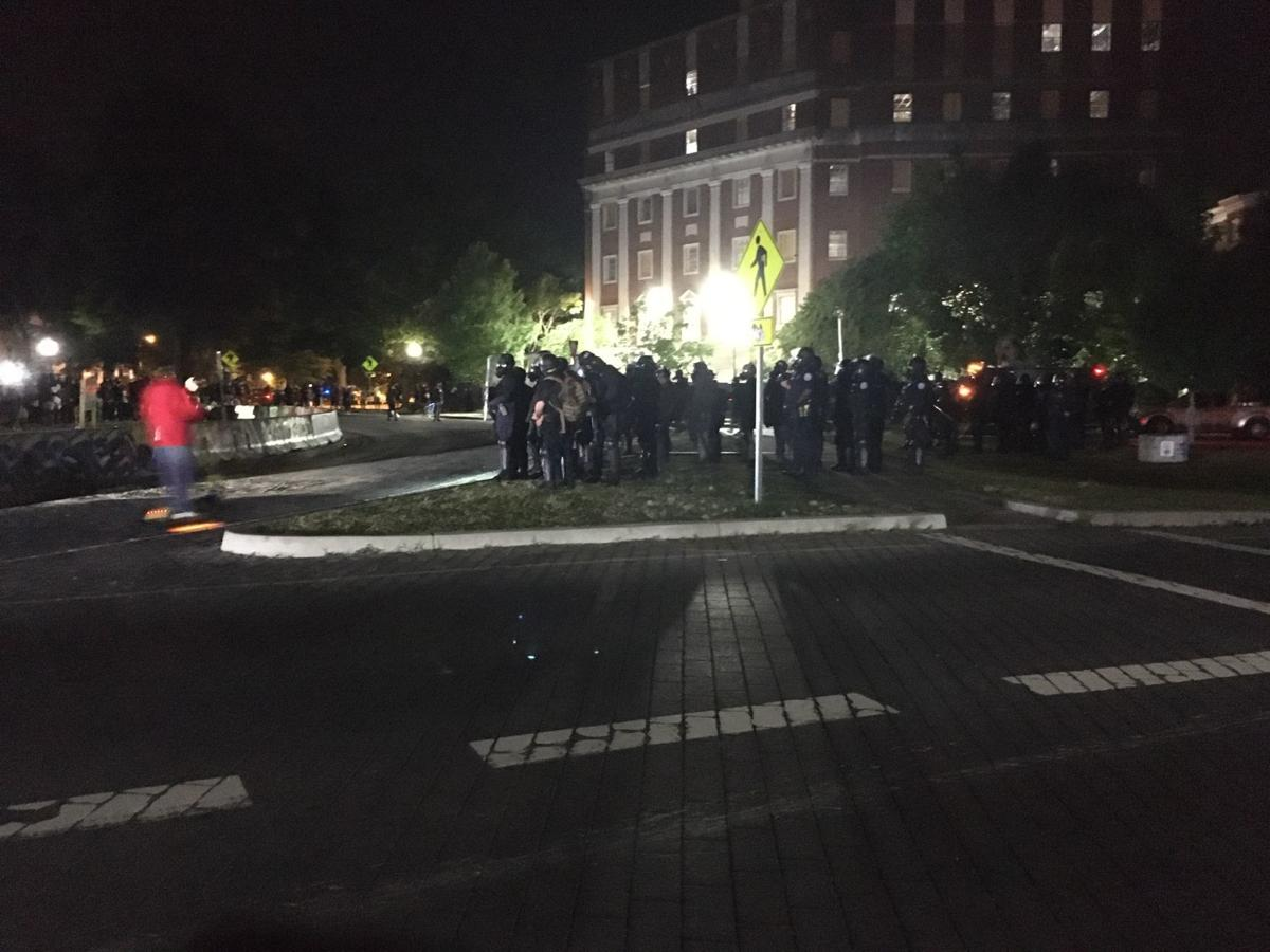 Police gather near Lee Monument