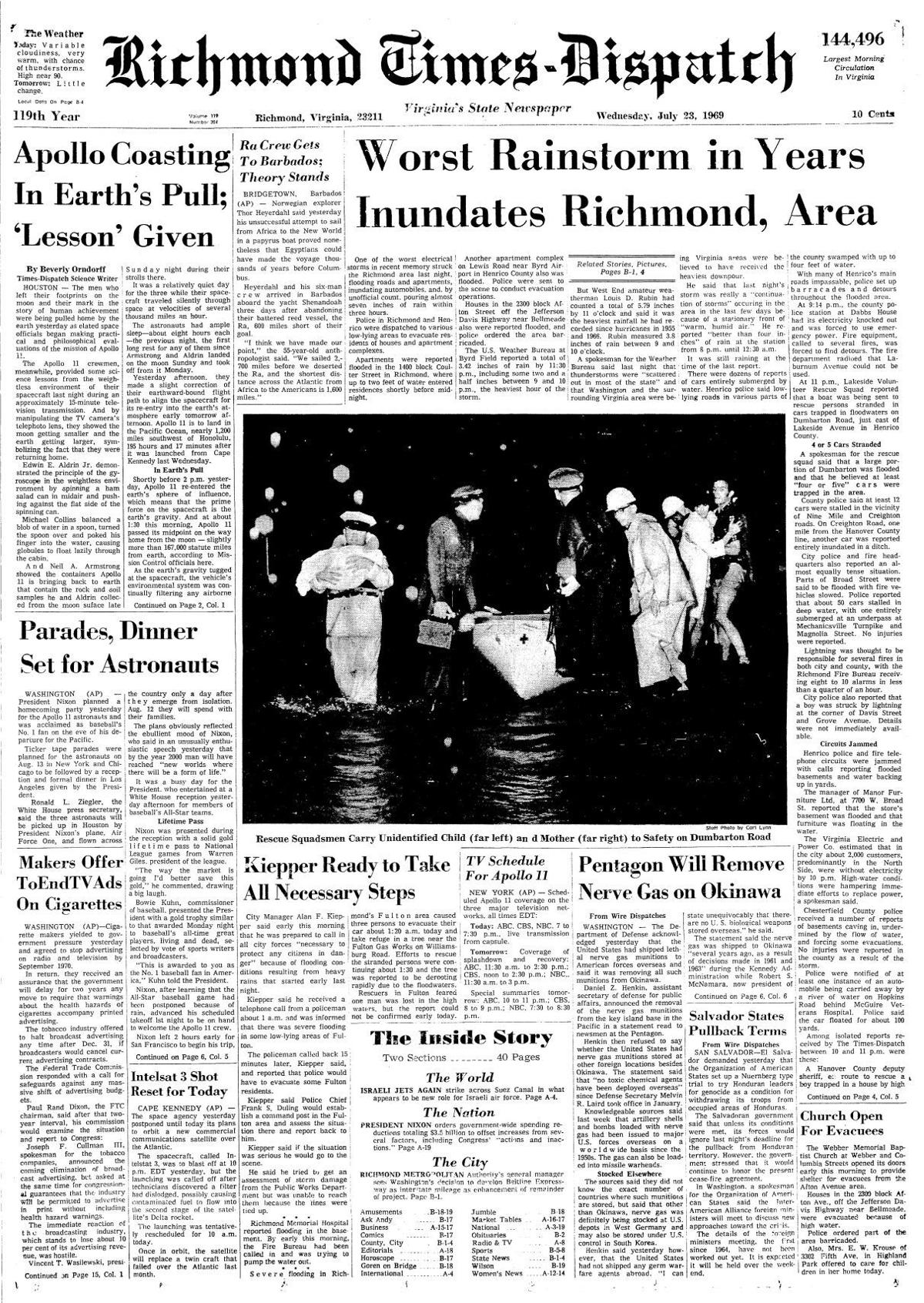 From the Archives: Times-Dispatch front pages during the Apollo 11