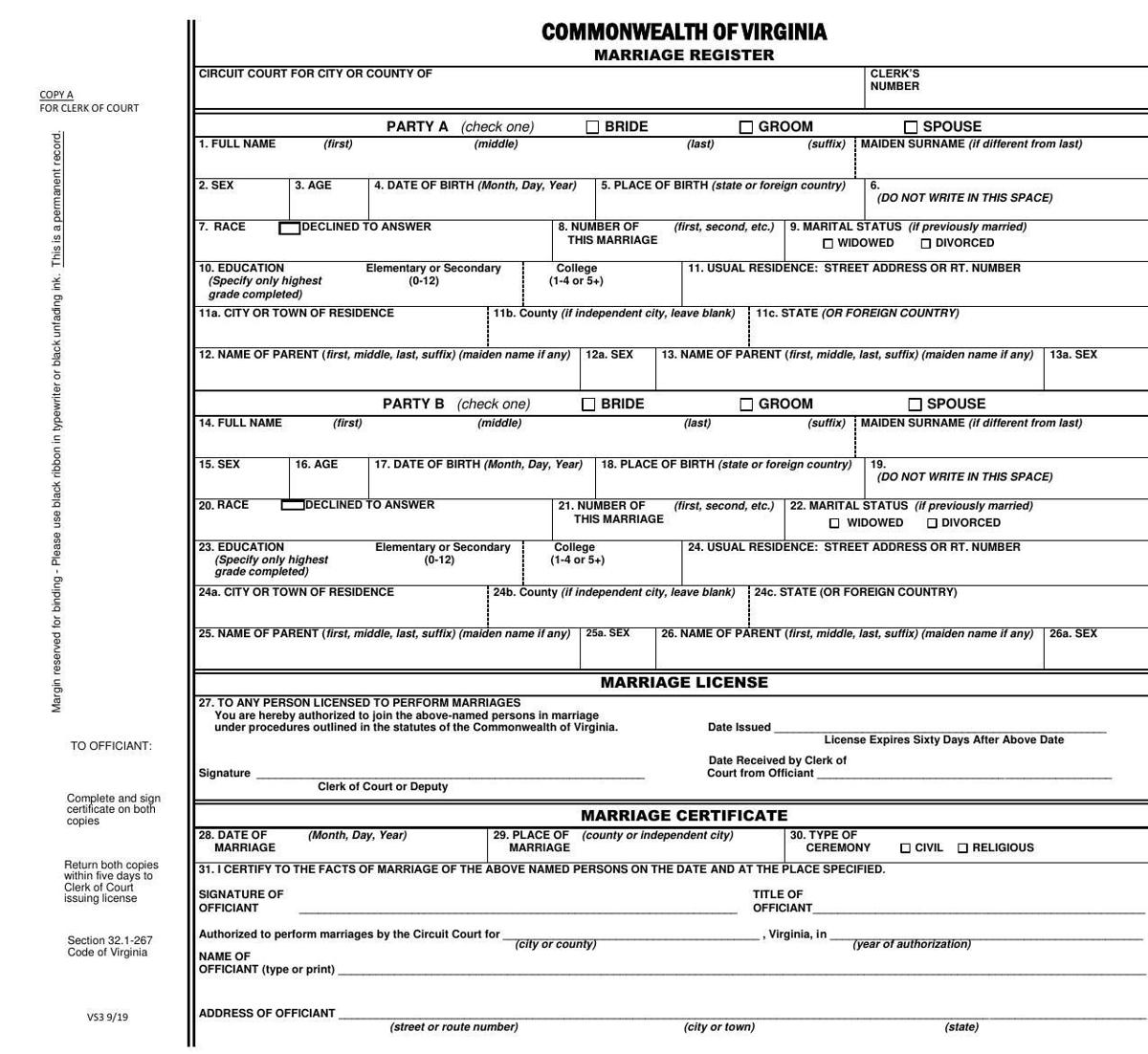 Revised marriage license