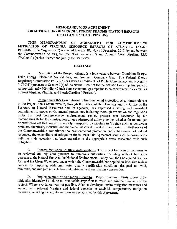 Virginia Acp Forest Fragmentation Agreementpdf Richmond
