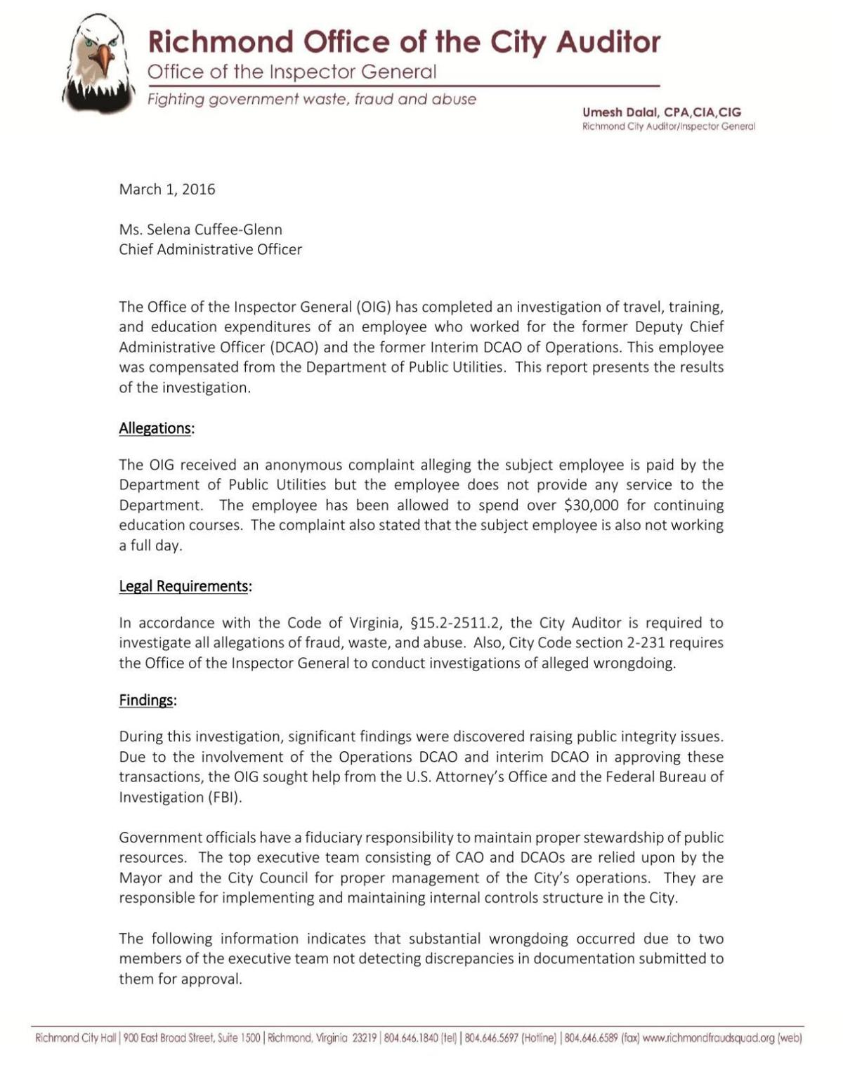 PDF: Richmond Auditor's report on misuse of city funds