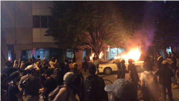Car fire outside Richmond police headquarters